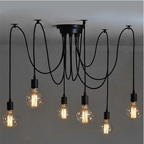 Lingkai Lampada a sospensione industriale Lampadario Lampada a forma di lampada moderna con 6 adattatori per testine luminose¡