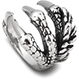 BAVIPOWER Dragon Claw Stainless Steel Ring Awesome Fashion Design Jewelry for Men