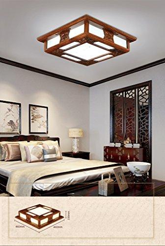 GYD LED-Schlafzimmer Wohnzimmer Studie Massivholz Chinesisch-Stil Quadratische Imitation Marmor Holz Decke (Tragen Sie die Lichtquelle) (größe : 46 * 46) -