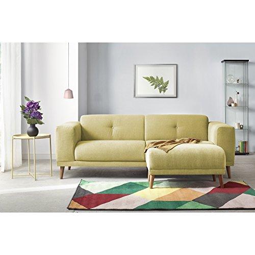Bobochic LUNA Canapé de 3 places avec Pouf Tissu Jaune 225 x 93 x 77 cm