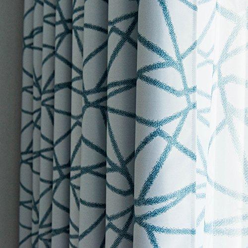 Top Finel Lot DE 2 Rideaux Occultants Motif Rayures Géométriques à Oeillets 140x220cm Isolation Thermique pour Salon Chambre Cuisine Bleu Vert