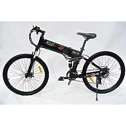 elecycle 250W eléctrico para bicicleta 26pulgadas con Shimano 21velocidades plegable bicicleta de montaña en negro con pantalla LED