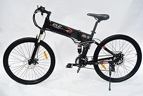 elecycle électrique 250W 66cm de vélo avec VTT Shimano 21vitesses pliable en noir avec affichage LED