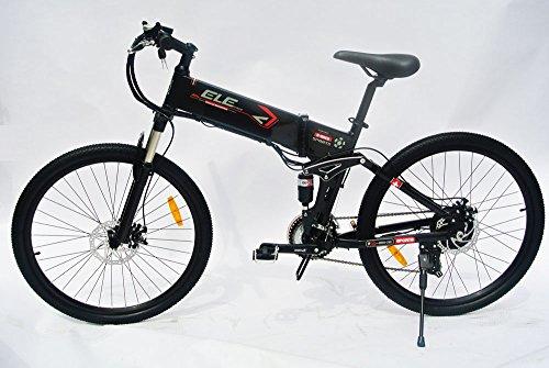 elecycle 250W elettrico per bicicletta 26pollici con Shimano 21Velocità pieghevole mountain bike in Nero con display a LED