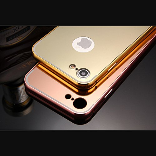 iPhone 5 / 5S / SE / 6 / 6S / 7 - Or Rose Luxe Aluminium Miroir Mince Metal Cas Couverture Pour iPhone 6 / 6S - thinkmobile Or Rose