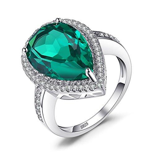Jewelrypalace 4.54ct Damen Grün Luxus Tropfenschliff Simulierte Nano Russisch Smaragd Ringe 928 Sterling Silber
