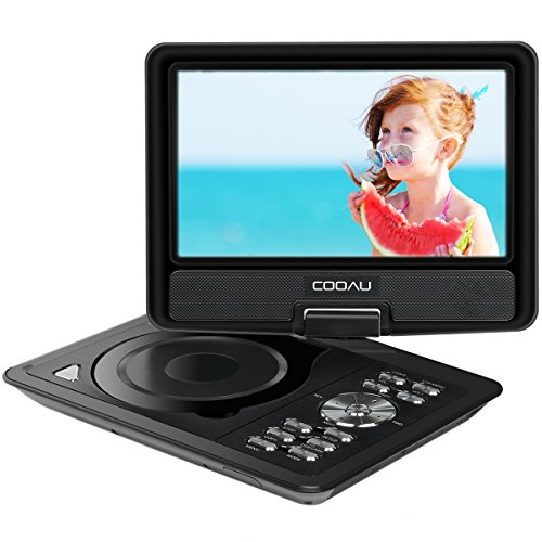 COOAU 11.5 Portable DVD Player, 5 Hours Rechargeable Battery 360� Swivel Screen/Remote Control/Game Joystick, Supports SD Card/USB/Sync TV, Direct Play in Formats AVI/RMVB/JPEG/MP3, Black