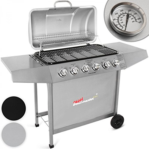 broil-master 6 Burner BBQ Gas Grill Steel Barbecue with 2 Side Racks