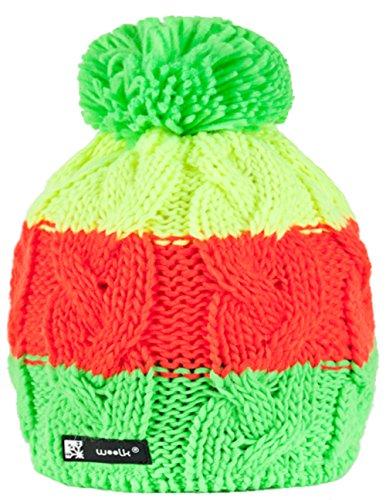 MFAZ Morefaz Ltd Wintermütze Mädchen Mütze Kinder Jungen 1-4 Jahre Jugendliche Wurm Hat Fleece (Neon) -