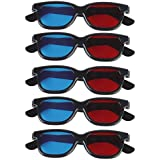 Generic MagiDeal 5 Pair Adult Plastics Red/Blue 3D Glasses Anaglyph Glasses,Black