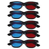 #1: Generic MagiDeal 5 Pair Adult Plastics Red/Blue 3D Glasses Anaglyph Glasses,Black