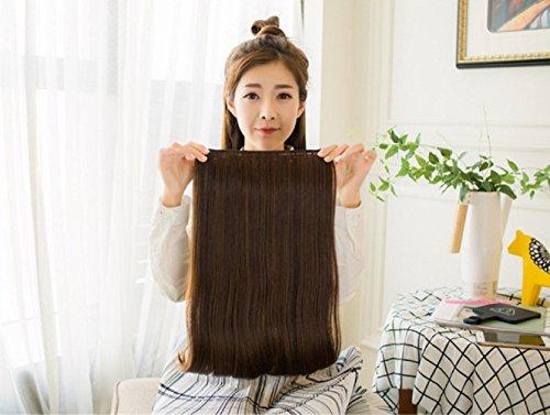 GAIHU Einteiliges, 5 Clips wellig Langes Haar Clip in Haarverlängerung (60 cm) 3/4 Kopf Voll Synthetische Erweiterungen Damen Mädchen
