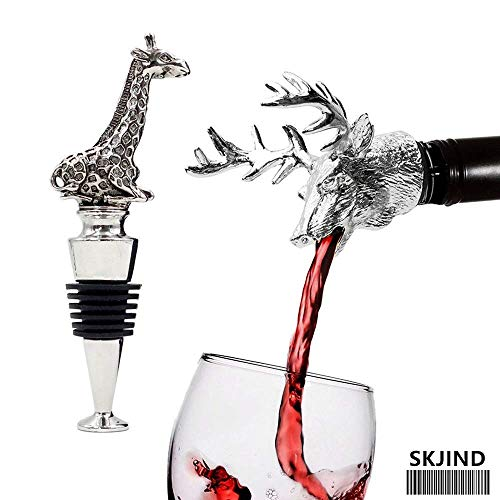 SKJIND Wine Aerator Pourer and Wine Stopper Set of 2,Alloy Wine Accessories for Wine Lover Christmas Gift,Decanter Spout fit All Red and White Wine Bottles