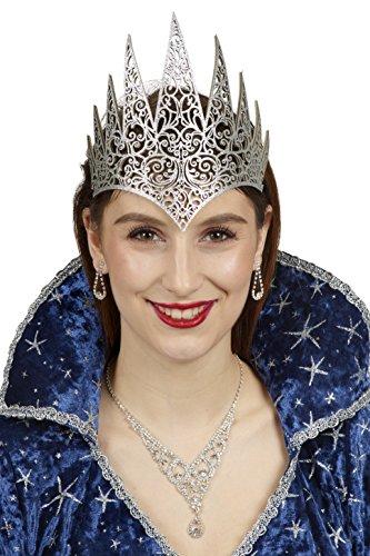 Andrea-Moden Stirnband-Eiskönigin in Silber | Einheitsgröße Erwachsene | Krone-Schneekönigin