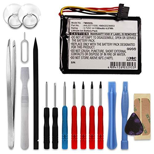 subtel® Qualitäts Akku kompatibel mit Tomtom GO 950 GO 950 Live, AHL03711008,HM9420236853 1100mAh + Werkzeug-Set Ersatzakku Batterie