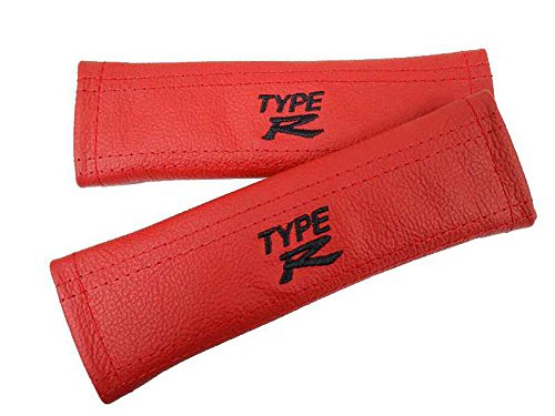 Sicherheitsgurt-Überzug für Honda Civic Type R, Leder, mit schwarzem Typ-R-Logo (gestickt), Rot