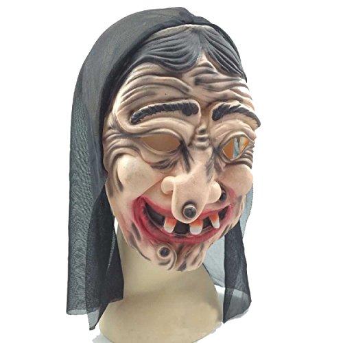 Halloween Maske Horror Hexe Mütze Krepp Latex (Masken Beängstigend Hexe)