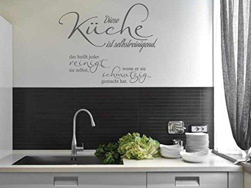 Wandtattoo-bilder® Wandtattoo Sprüche Diese Küche ist selbstreinigend Nr 3 Küchendeko Küchenaufkleber Größe 90x73, Farbe Hellbraun