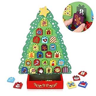 Toyvian Navidad Cuenta Regresiva Calendario Madera Adviento Calendario árbol de Navidad decoración imán