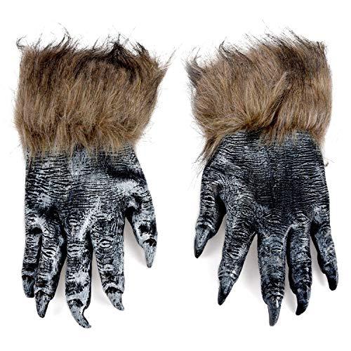 Cikuso 1 Paar Wolf Handschuhe Halloween Maske Tier Maske Set Werwolf Maskerade Wolf (Groesse: L, Farbe: Schwarz)