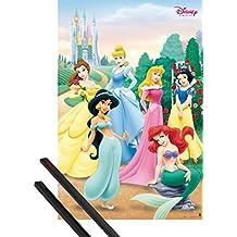 Póster + Soporte: Princesas Disney Póster (91x61 cm) Pose Y 1 Lote De 2 Varillas Negras 1art1®