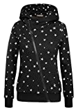Yidarton Winter Damen Hoodie Sweatshirt Sterne Muster Kapuzenpullover