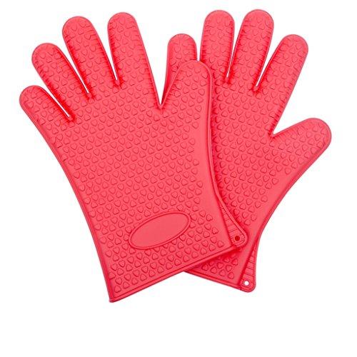 Doppel verdicken Hitzebeständige rutschfeste Silikon-Handschuhe Ofen Handschuhe Mikrowelle Handschuhe ( farbe : Rot ) (Rot Doppel Ofen-handschuh)