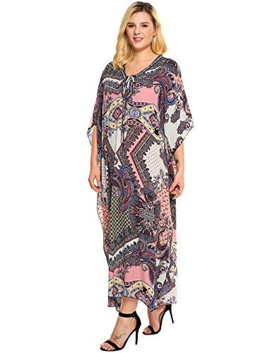 ... cooshional Damen Georgettina Flowy Lang Kaftan Kleid Sommer Vertuschung  V-Ausschnitt Kimono Strandkleid Bikini Tunika ...