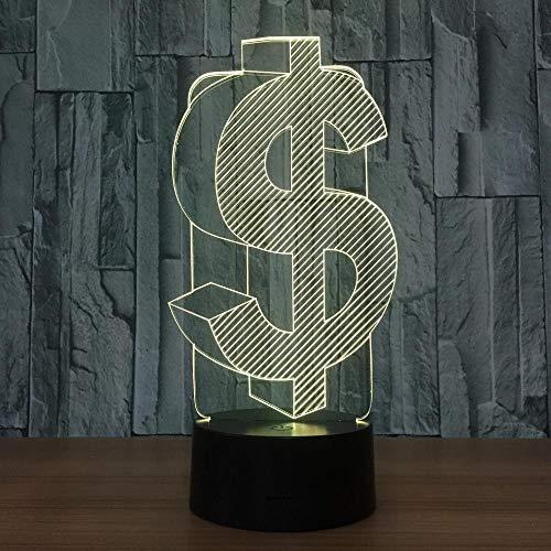 ZNNYE 3D Nachtlichter Kinder Dollar Zeichen Led Lichter Innen Usb Licht Farben Variante Lampara Büro Dekoration Führende Nachtlichter Für Freunde Werbegeschenke