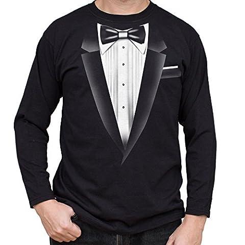 NEUF - SMOKING TUX - T-shirt Noir Homme Manches Longues - Tuxedo Robe De Fantaisie (Medium)
