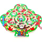 Toys of Wood Oxford Labyrinthe magnétique Apple Tree avec 2 stylos magnétiques et perles colorées - Jeu de labyrinthe pour 3 ans et plus