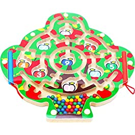 Toys of Wood Oxford, Albero di mele magnetico, Puzzle del labirinto con 2 penne magnetici e perline colorate, per 3 anni in più