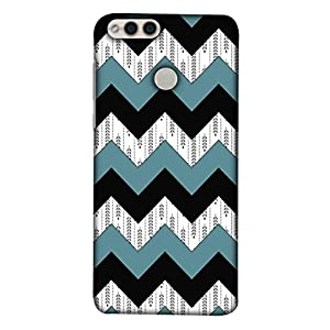 Printfidaa Huawei Honor 7X, BND-L21, BND-L22, BND-L24 Mate SE, BND-AL10, BND-TL10 Back Cover Black and Green Zig Zag Lines Pattern Printed Designer Back Case.