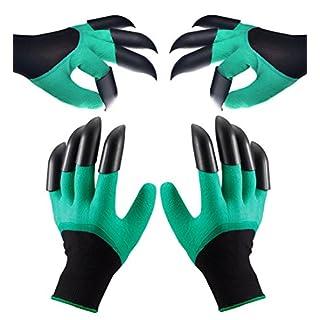 Asimoon Wasserdicht Gartenhandschuhe Handschuhe mit Graben Klauen für Herren und Damen, Geschenkidee für Gärtner[2 Paar]