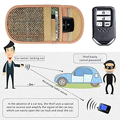 Newseego-Autoschlssel-Signalblocker-Hlle-Harris-Tweed-Surface-RFID-Faraday-Tache-Signal-Blockerungstasche-fr-Autoschlssel-Premium-Faraday-Keyless-Entry-Diebstahlschutztasche