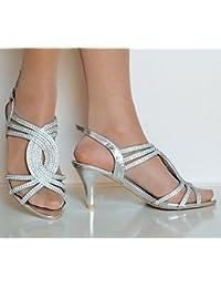 Plateado Sandalias Bajo Es 6x5ww4q Amazon De Zapatos Tacon Y fgv6Iyb7mY
