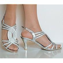 ROCK sobre Estilos De Mujer Fiesta Brillante Plateado Diamante Tiras en Tobillo Bajo Gatito Zapatos de tacón Sandalia a-83