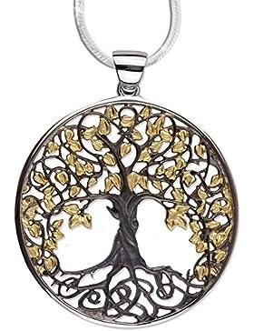 Anhänger Lebensbaum Amulett Baum des Lebens 925er Silber Schmuck vergoldet rhodiniert Heilung mit 1,2mm Schlangenkette...