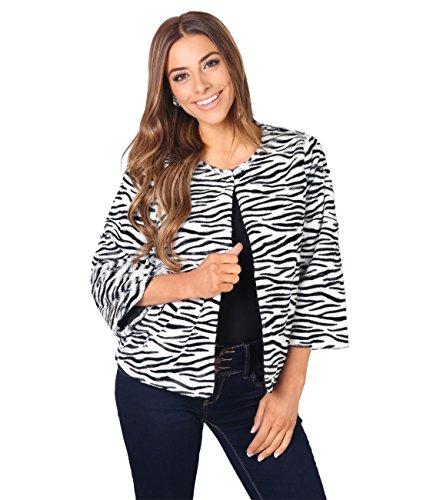 5890-BLKWHT-M: Zebra Faux Fur Jacket (Schwarz-Weiß, Gr.M) (Schlange Designer-schuhe)