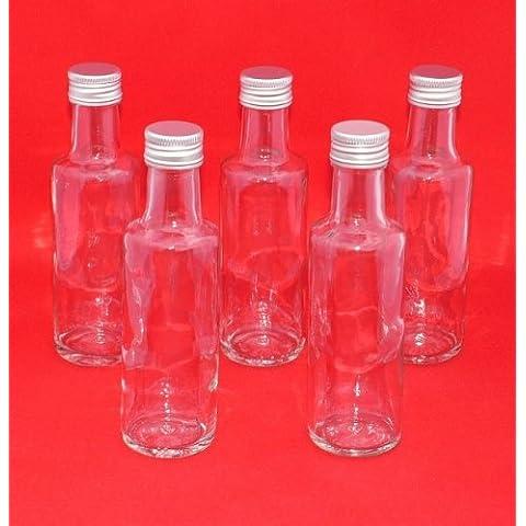 12 botellas de vidrio pequeños 100 ml con tapón de rosca Juego de botellas de vidrio 12 unidades 100 ml pequeñas de cristal 0,1 Litro 12,3 cm de altura, con tapón de rosca, vacías y aptas para relleno, adecuadas para licores, aceite, vinagre, etc.) por