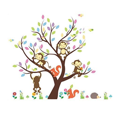 LUFADIY Affe-Eichhörnchen bunte Baum-Kunst-Wand-Aufkleber-Abziehbild für Kinder-Hof-Baby-Raum entfernbar Hof-fliesen