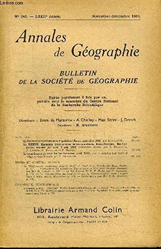 ANNALES DE GEOGRAPHIE N°340 - La Conférence mondiale de la Population, le tremblement de terre des pîles Ioniennes, ...