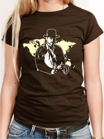 BIGTIME Women's T-Shirt Brown Film Poster Indiana Jones E46–Girly -  Brown - XXL