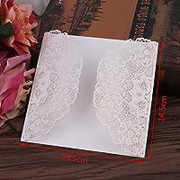 Dabixx boda Tarjetas de invitación Kit 10Unidades con sobres Juntas de arroz impresión de flores blancas A 14,4x 14,4cm