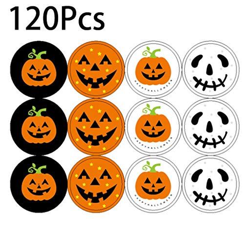 Tuttavie Halloween-Kürbis-Aufkleber 120pcs, die Siegel DIY Süßigkeits-Geschenk-Umbauten Aufkleber neu verpacken