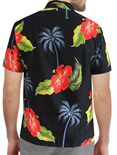 LA LEELA Shirt Camicia Hawaiana Uomo XS - 5XL Manica Corta Hawaii Tasca-Frontale Stampa Hawaiano Casuale Regular Fit Nero1897 Nero