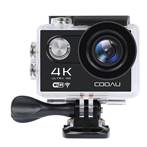 COOAU Caméra de Sport 4K Ultra HD Camera Wi-Fi 2 'LCD Étanche 30M Sous-marine 170° Grand-angle avec Batteries Rechargeables 1050mAh et Kit d'accessoires pour Cyclisme Natation Plongée