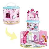 deAO Tragbares Puppenspielhaus im Schlossdesign mit jeder Menge Zubehör!