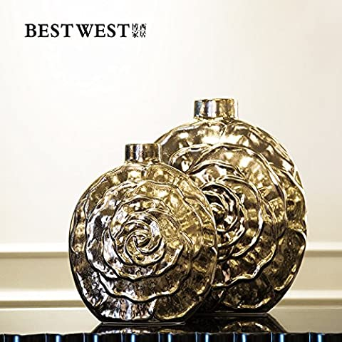 Round fatti a mano in rilievo in oro vaso di ceramica ,L e S Set di due