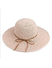 LHA Cappello Estivo di Paglia Cappello Femminile di Protezione Solare  Cappello Pieghevole di Protezione (Colore 6435bd20508f